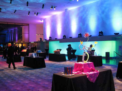 event set up in room with colored lights