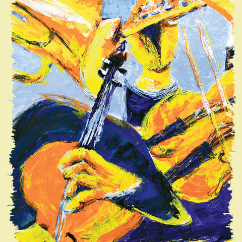 Abstract painting of performers