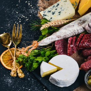 A cheese and meat board
